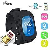 TKSTAR Los niños Reloj Inteligente GPS Rastreador niños Reloj de Pulsera teléfono SIM Anti-Lost SOS Pulsera Parent Control por iOS y Android Smartphone Q50 Color Negro