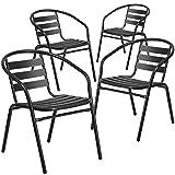 Flash Furniture 4 Pack Black Metal Restaurant Stack Chair with Aluminum Slats...