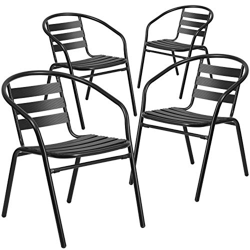 Flash Furniture 4 Pack Black Metal Restaurant Stack Chair with Aluminum Slats