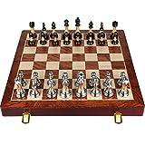Juego de ajedrez Metal Gross, Juego de ajedrez 45 x 45 cm, Juegos de Mesa 2 Jugadores, Juego de ajedrez Metal, Juego Familiar, Familias Regalo,Metálico,17.7x17.7x1.8in