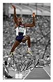 Carl Lewis Autogramme Signiert 21cm x 29.7cm Foto Plakat