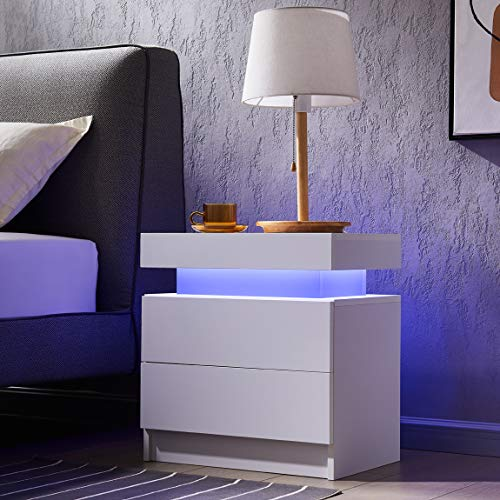 Generic Bedside Table with 2 Drawers, LED Nightstand Wooden Cabinet Unit with LED Lights for Bedroom, End Table Side Table for Bedroom Living Room, White