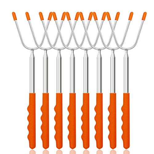 Newthinking Roasting Sticks, Marshmallow Roasting Sticks 45'' Stainless Telescoping Forks, Hot Dog Smores Skewers Kids Safe Barbecue Forks for Barbecue Campfire, Bonfire and Grill