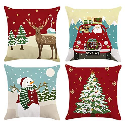Bonhause Juego de 4 Funda de Cojín Navideño 45x45cm Árbol de Navidad Reno Camión Monigote de Nieve Terciopelo Suave Fundas de Almohada para Cojines Decorativos para Sofá Decoración Hogar de Navidad