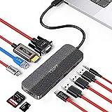 TSUPY HUB USB C 11 en 1 Diseño de Tela Tipo C HUB con 4K HDMI, VGA,Transferencia de Datos Tipo C, USB-C PD, 3 USB 3.0/2.0,Lector de Tarjetas SD/TF, RJ45 para MacBook Pro/Air,Chromebox Pixel y más
