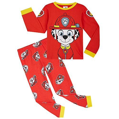Paw Patrol Pyjama Enfant De La Pat Patrouille, Ensembles de Pyjamas en Coton avec Marcus et Chase, Idée De Cadeau Original pour Garçon ou Fille 18 Mois-6 Ans (Rouge, 2-3 Ans)