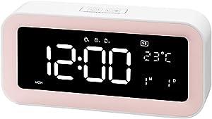 ZTMN Réveil pour Les Gros dormeurs Chambre Horloges de Bureau Affichage numérique électrique Variateur de Sommeil 3 alarmes Réglages Température (Couleur: A)