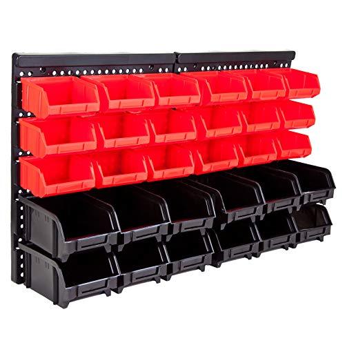 Grafner Wandregal mit Stapelboxen 32 tlg, ideal für Schrauben und andere Kleinteile, erweiterbar, stabile Ausführung, Werkstattregal Werkzeuglochwand Lagersystem Lagerregal Schüttenregal