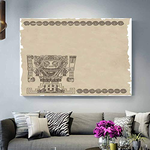 ScottDecor Classroom Wall Decor Native American,Mayan and Inca Tribal Symbols Superstition Primitive Relic Archeology,Tan Army Green Under 30 L32 x H48 Inch