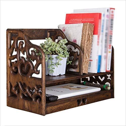 sujetalibros Decorativo Estantería de almacenamiento de escritorio de madera maciza retro Mesa de estante de almacenamiento Estantería simple Estantería Estante de archivo de madera de oficina