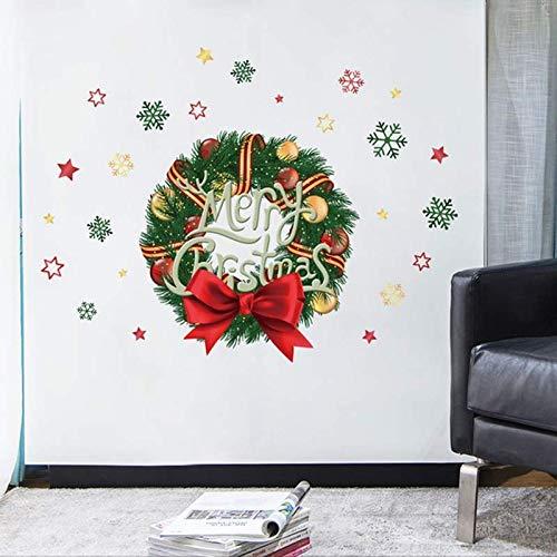 CROSYO 1 stück Weihnachtskranz Wandaufkleber PVC Fenster Glas Aufkleber Santa Claus Wandbild Neue Jahr Weihnachtsdekoration for Home Shop (Farbe : As Shown)