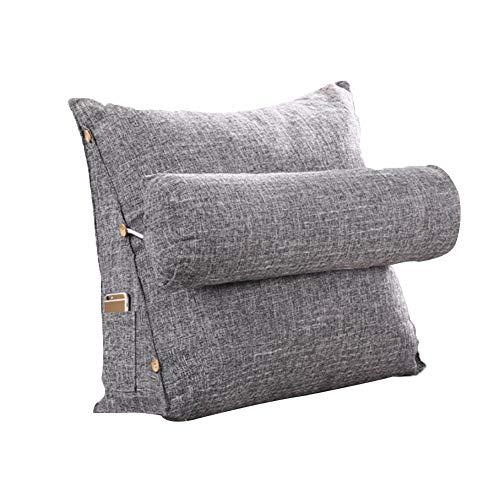 Poggiatesta schienale triangolo cuscino in cotone e lino cuscino a cuneo cuscino per schienale ufficio vita posteriore cuscino, grigio