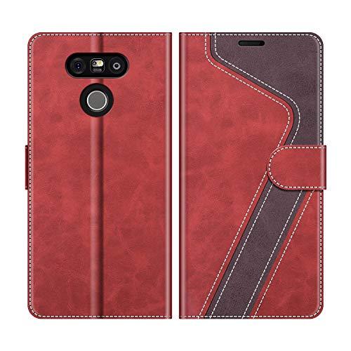 MOBESV Custodia LG G5, Cover a Libro LG G5, Custodia in Pelle LG G5 Magnetica Cover per LG G5, Elegante Rosso