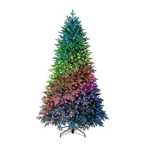 Home Heritage 7.5 Foot Quick Set Spruce Prelit Artificial Christmas Tree with Color Changing LED Twinkly Lights, Remote with 5 Color Selections, and Metal Stand