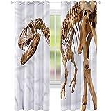 Cortina opaca para ventana, diseño de dinosaurio, arqueología, T-Rex W52 x L63, cortinas de oscurecimiento para sala de estar