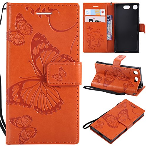Hülle für Sony [Xperia XZ1 Compact] Hülle Leder,[Kartenfach & Standfunktion] Flip Case Lederhülle Schutzhülle für Xperia XZ1 Compact - EYKT042308 Orange