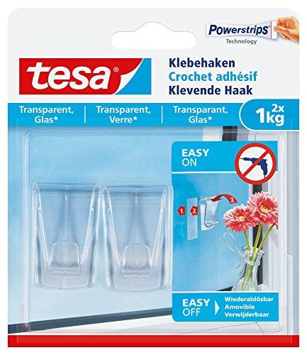 tesa Klebehaken (für transparente Oberflächen und Glas (1 kg), Durchsichtige, selbstklebende Haken, bis zu 1 kg Halteleistung pro Haken) 2er Pack