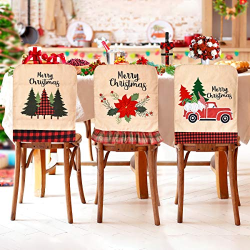 CestMall Fundas para sillas temáticas navideñas, 3 Piezas, novedosas, para árbol de Navidad y Flores, para decoración de Mesa de Cena, Silla de Comedor, Funda de Lino para Asiento de Navidad