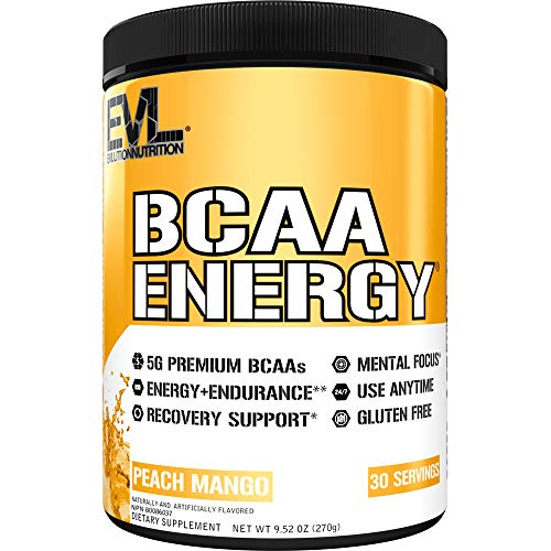 Evlution Nutrition BCAA Energy - Essential BCAA Amino Acids, Vitamin C, + Natural Energizers for Performance, Immune Support, Muscle Building, Recovery, B Vitamins, Pre Workout, 30 Serve, Peach Mango