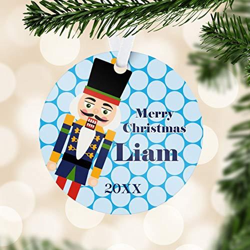 Alicert5II Notenkraker kinderen ornament blauw polka dots notenkraker vakantie decor winter notenkraker gepersonaliseerde kerstbal kind naam cadeau