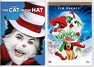 Dr. Seuss' Classic Children's Fantasy Films: The Cat in the Hat + How The Grinch Stole Christmas (Collector's Edition) DVD Books To Life Movie Bundle