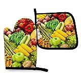 AEMAPE Bsadjasda - Juego de Manoplas y Porta ollas para Horno de Frutas y Verduras Veganas, Guantes y agarraderas Resistentes al Calor