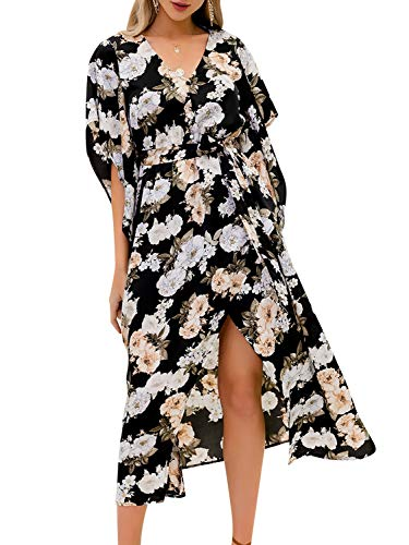 BerryGo Women's Boho Button Down Floral Beach Dress V Neck Split Party Dress