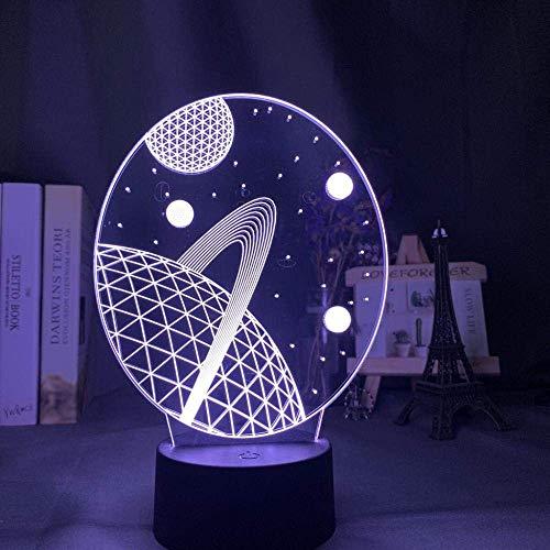 3D-Illusionslampe LED-Nachtlicht Baby Space Planet für Kinder Kinderzimmer Dekoration USB Batteriebetriebene Schreibtischlampe Einzigartiges Geschenk