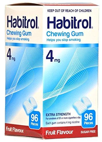 Habitrol Nicotine Quit Smoking Gum, 4mg, Fruit flavor coated gum. 96 pieces per box by Habitrol