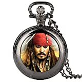 Reloj de bolsillo para hombre, diseño de piratas del Caribe, para niños, con colgante de cuarzo, para adolescentes
