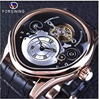Forsining 自動巻き 機械式腕時計 トゥールビヨン ステンレス スケルトン レザーバンド ブラック・ローズゴールド