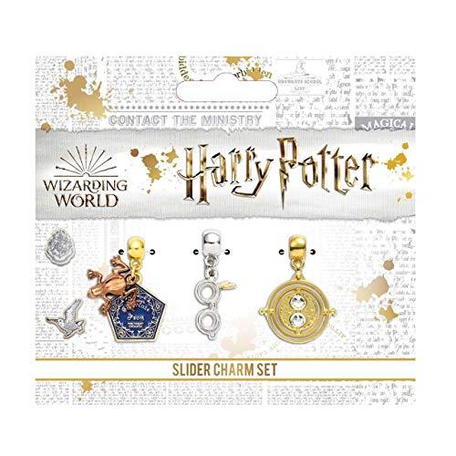 Juego de abalorios de Harry Potter chapado en plata con diseño de rana de chocolate, vasos y horario de The Carat Shop