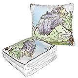 XINGAKA Manta de Viaje súper Suave,Castillo de Edimburgo Turístico cercano Sketch Reino Unido Parque de Atracciones Monumentos Parques Escoceses al Aire Libre,Manta Plegable,Almohada cómoda