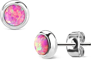 MoBody Created-Opal Round Stud Earrings Silver Surgical Stainless Steel Womens Jewelry