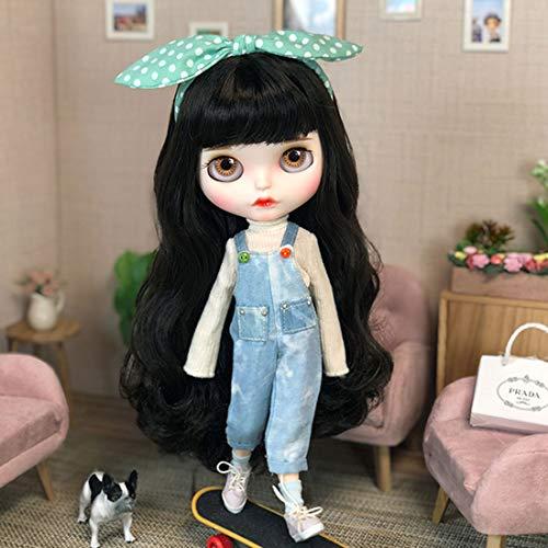 HYZM Doll 1/6, 19 Joints Blythe Puppe Body + Make-up Gesicht + Vollständige Kleidung + 4 Farben Augen + 9 Paar Hände, Schwarzbraunes lockiges Haar Typ B