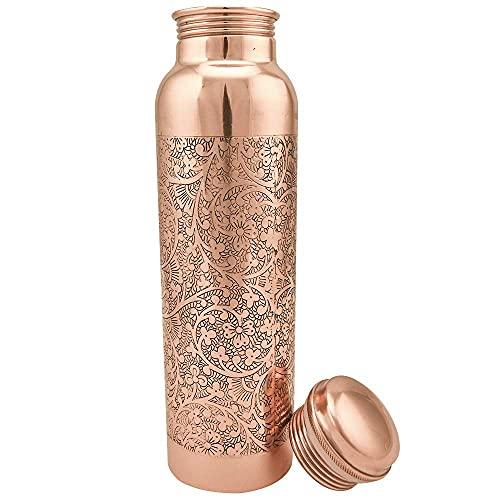 Botella de agua de cobre de Traveller's 100% cobre puro botella de agua libre de juntas a prueba de fugas – Ayurveda Health Benefits Botella elegante de cobre 900 ml (diseño 10)