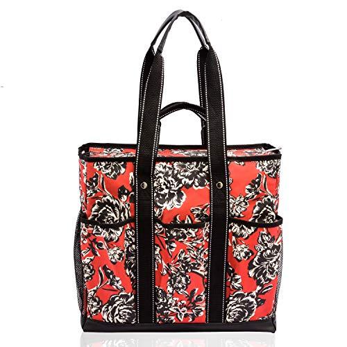 Canvas Tote Shopping Bag,Utility Teacher Nurse Organizer Handbag Bag DEMOMENT (Pink Grey Wave)