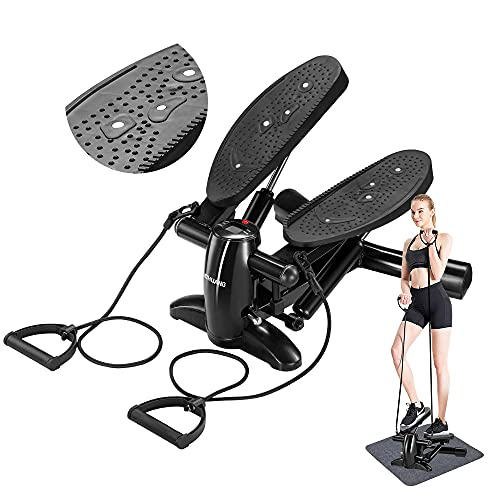 DACHUANG ExerciseStepper, MiniAerobicStepperMachinewithDisplay,LowNoise FitnessStepper Including Resistance Bands, Massageable GymTraining Stepper-Bearing Weigh 140kg