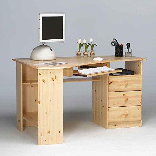 Pharao24 Schreibtisch für Ecke Kiefer Massivholz
