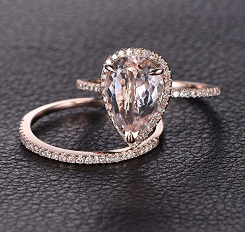 1 50 Carat Pear cut Morganite and Diamond Wedding Ring Set for Women In Rose Gold product image