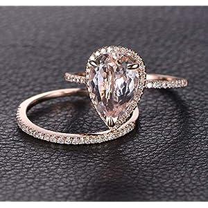 1.50 Carat Pear cut Morganite and Diamond Wedding Engagement Ring Set for Women In Rose Gold