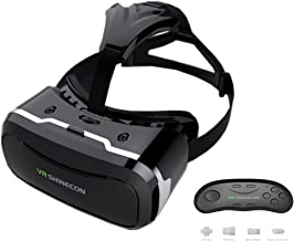 AECHOO Virtual Reality Headset 3D Glasses VR Cardboard Comfortable Wear With Adjustable Lens Clear High Performance Support 4.5-6.0 Inches Mobile for Movies Games with Remote