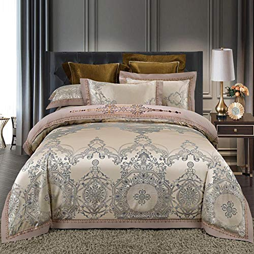 Bocotous Double Bed Duvet Set,Luxury Silk Satin Jacquard Duvet Cover Bedding Set Double Super King Size Embroidery Bed Set Bed Sheet Gray Gold 200 * 230cm(4pcs)