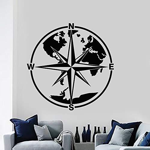Jsnzff Material de la Etiqueta de la Pared de la Etiqueta del Arte de la Pared de la brújula Creativa para la decoración del hogar de la habitación de los niños 57x57cm