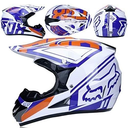 WAHA Casco Motocross Niño, Cascos De Motocross con Diseño Fox Casco De Cross De Moto Set con Gafas/Máscara/Guantes, Casco De Descenso BMX MX ATV MTB De Integral, Blanco,L
