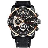 LIGE La Moda Relojes Hombre Los Deportes Impermeable Cuarzo simulado Reloj Dial Grande Negro Cuero La Correa Relojes de Pulsera