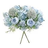Flores artificiales, ramo de hortensias falsas de peonía de seda azul de plástico azul de 2 piezas, arreglos florales realistas para bodas, centros de mesa, hogar, oficina, fiesta