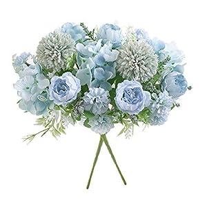 Flores Artificiales, Ramo de hortensias Falsas de peonía de Seda Azul de plástico Azul de 2 Piezas, arreglos Florales…