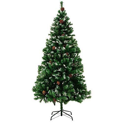 Casaria Deuba Árbol de Navidad con piñas y Nieve Artificial Ramas con Efecto Nieve de 180 cm con 705 Puntas con Base decoración