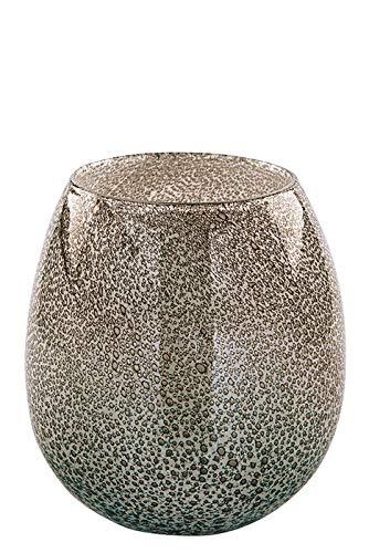 Fink Vase/Windlicht Silva - aus Glas grau glänzend mit Bläschen H 17,5 cm